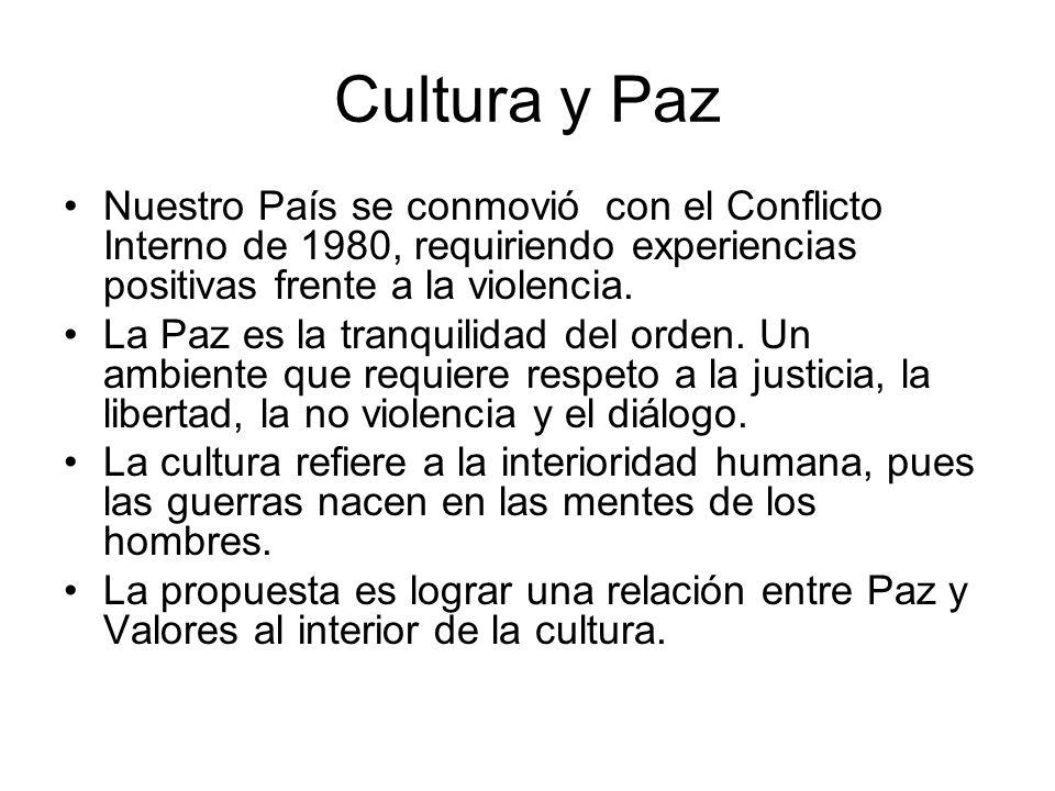 Cultura y Paz Nuestro País se conmovió con el Conflicto Interno de 1980, requiriendo experiencias positivas frente a la violencia.