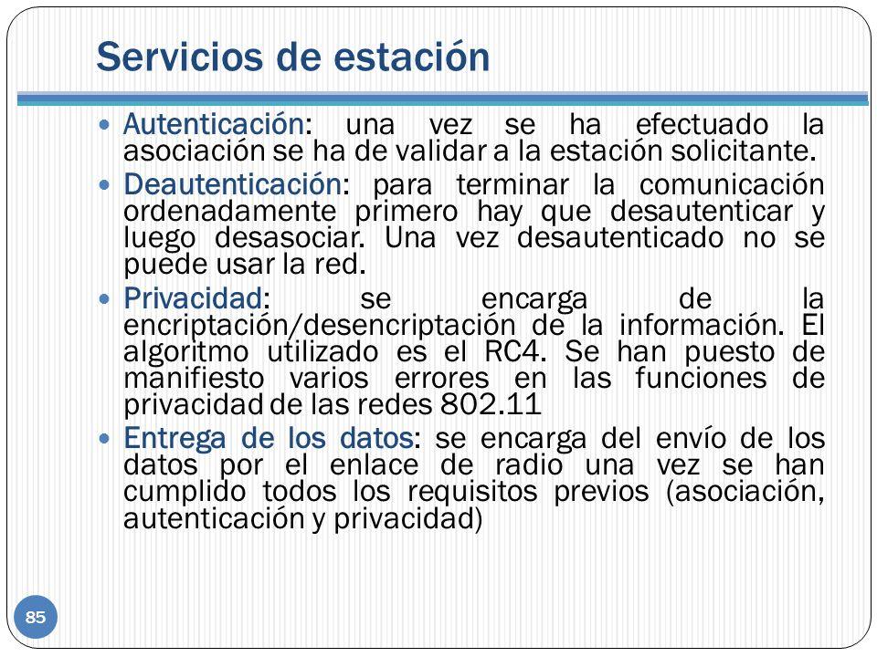 Servicios de estación Autenticación: una vez se ha efectuado la asociación se ha de validar a la estación solicitante.