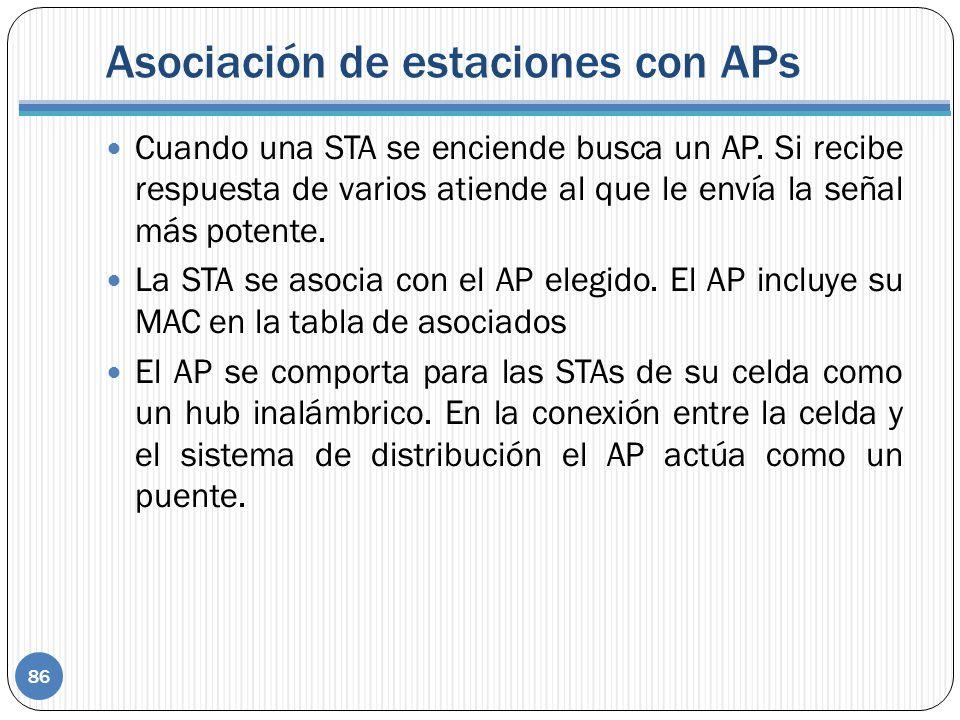Asociación de estaciones con APs
