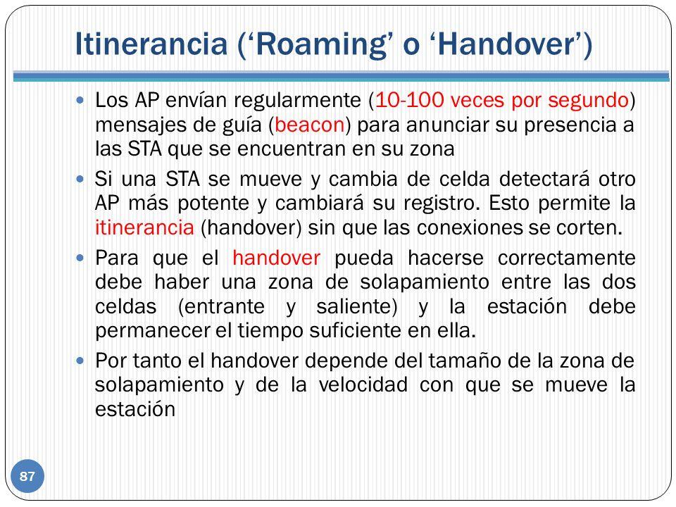 Itinerancia ('Roaming' o 'Handover')