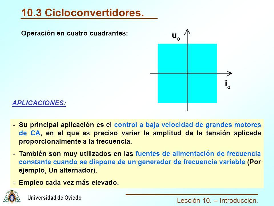 10.3 Cicloconvertidores. Operación en cuatro cuadrantes: APLICACIONES: