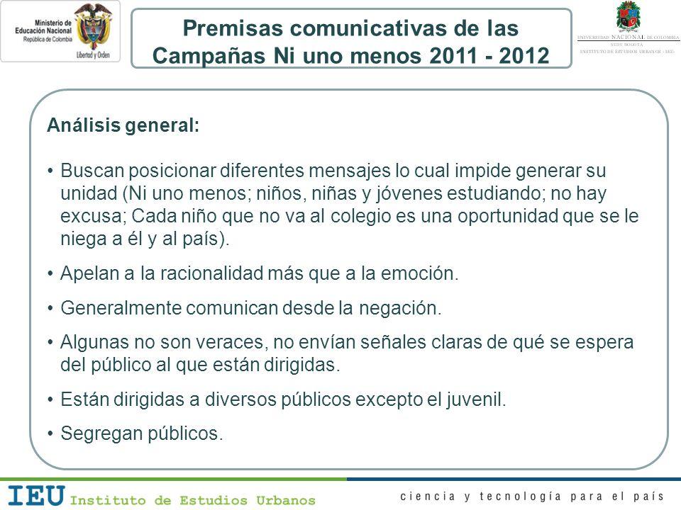 Premisas comunicativas de las Campañas Ni uno menos 2011 - 2012