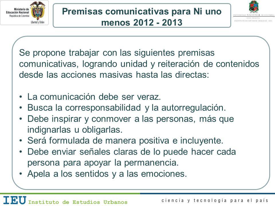 Premisas comunicativas para Ni uno menos 2012 - 2013