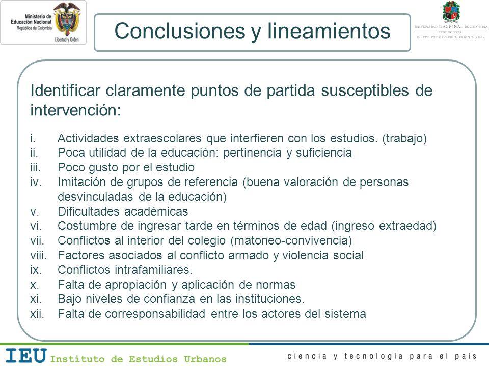Conclusiones y lineamientos