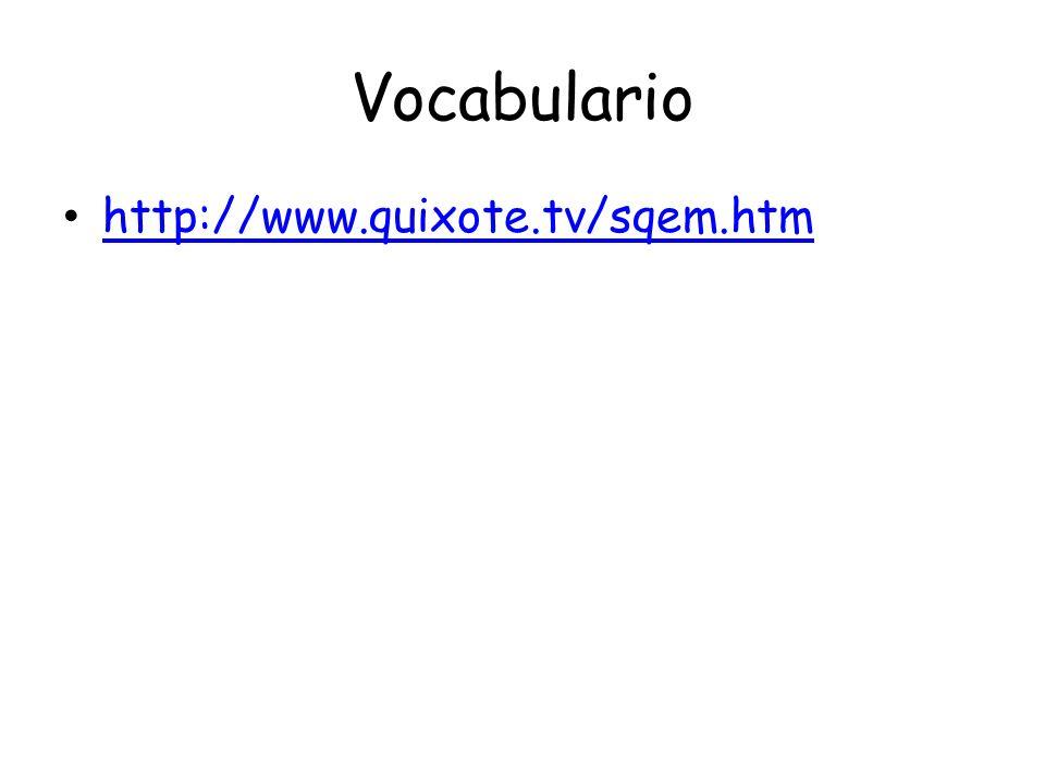 Vocabulario http://www.quixote.tv/sqem.htm