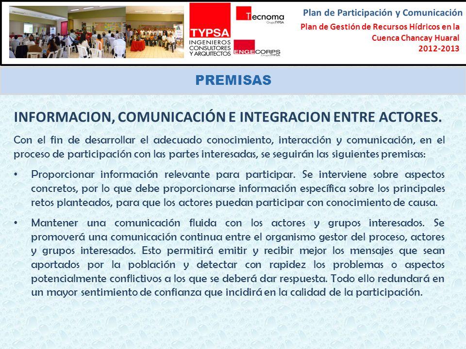 INFORMACION, COMUNICACIÓN E INTEGRACION ENTRE ACTORES.