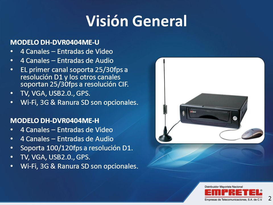 Visión General MODELO DH-DVR0404ME-U 4 Canales – Entradas de Video
