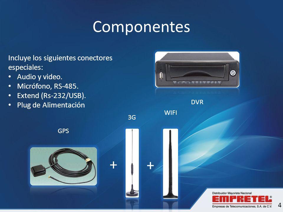 Componentes + + Incluye los siguientes conectores especiales: