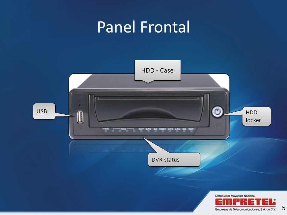 Panel Frontal HDD - Case USB HDD locker DVR status 5