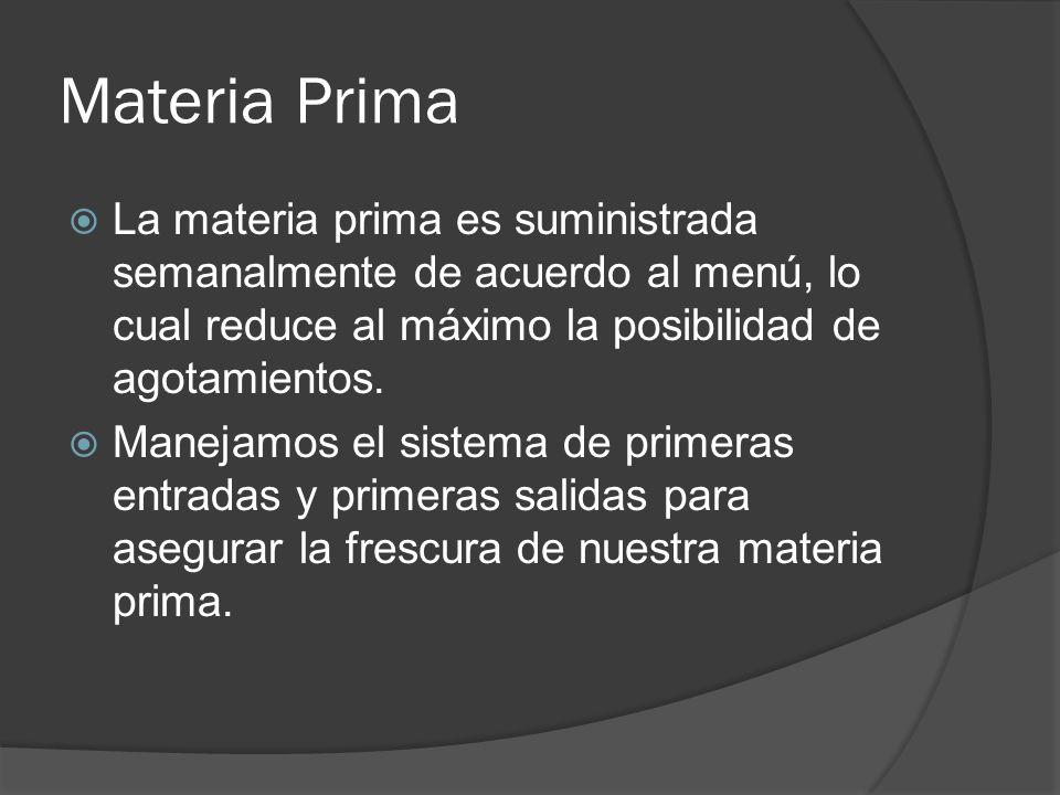 Materia Prima La materia prima es suministrada semanalmente de acuerdo al menú, lo cual reduce al máximo la posibilidad de agotamientos.