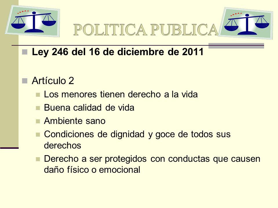 POLITICA PUBLICA Ley 246 del 16 de diciembre de 2011 Artículo 2