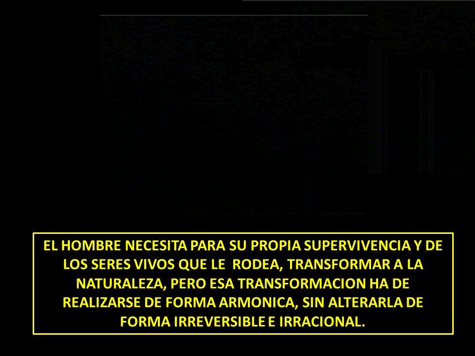 EL HOMBRE NECESITA PARA SU PROPIA SUPERVIVENCIA Y DE LOS SERES VIVOS QUE LE RODEA, TRANSFORMAR A LA NATURALEZA, PERO ESA TRANSFORMACION HA DE REALIZARSE DE FORMA ARMONICA, SIN ALTERARLA DE FORMA IRREVERSIBLE E IRRACIONAL.