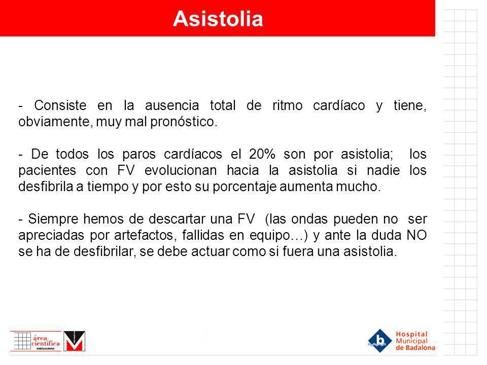 Asistolia - Consiste en la ausencia total de ritmo cardíaco y tiene, obviamente, muy mal pronóstico.