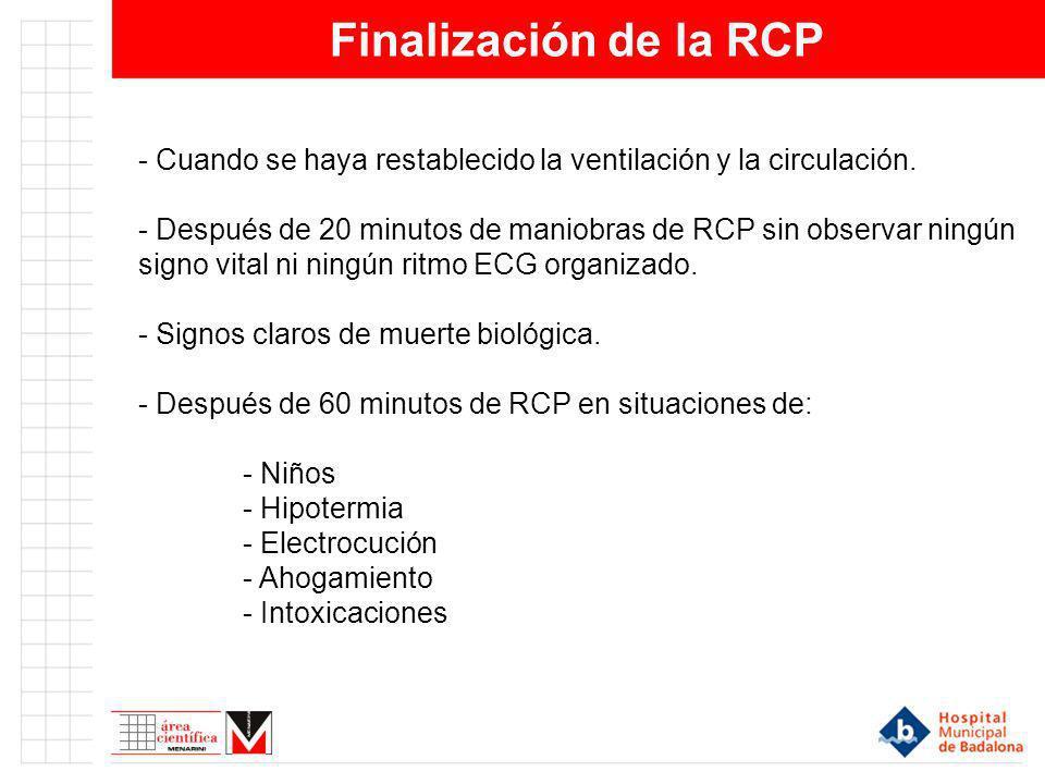 Finalización de la RCP - Cuando se haya restablecido la ventilación y la circulación.