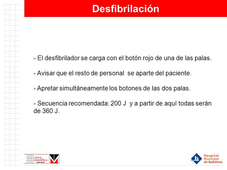 Desfibrilación - El desfibrilador se carga con el botón rojo de una de las palas. - Avisar que el resto de personal se aparte del paciente.