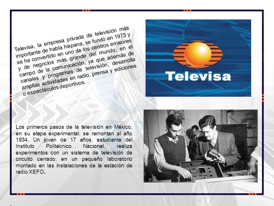 Televisa, la empresa privada de televisión más importante de habla hispana, se fundó en 1973 y se ha convertido en uno de los centros emisores y de negocios más grande del mundo, en el campo de la comunicación, ya que además de canales y programas de televisión, desarrolla amplias actividades en radio, prensa y ediciones o espectáculos deportivos.