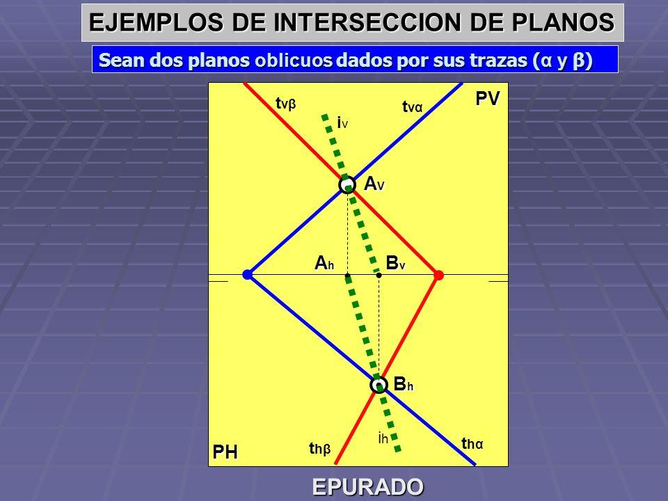 EJEMPLOS DE INTERSECCION DE PLANOS