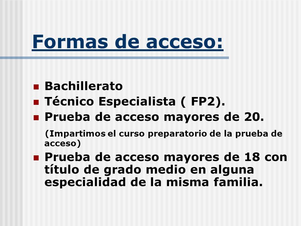 Formas de acceso: Bachillerato Técnico Especialista ( FP2).