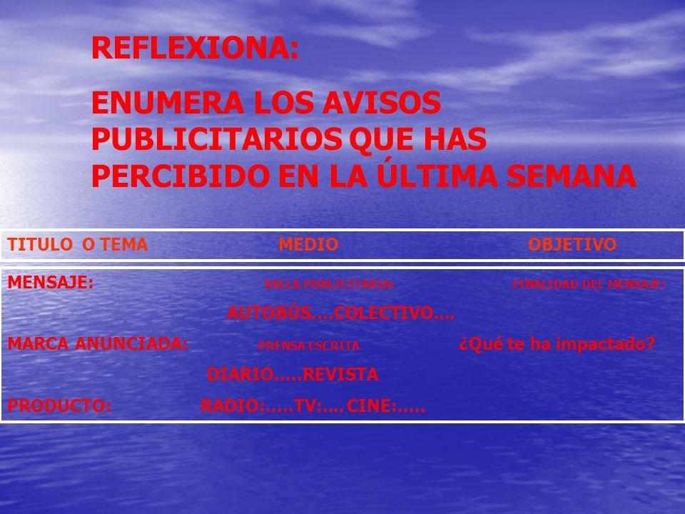 ENUMERA LOS AVISOS PUBLICITARIOS QUE HAS PERCIBIDO EN LA ÚLTIMA SEMANA