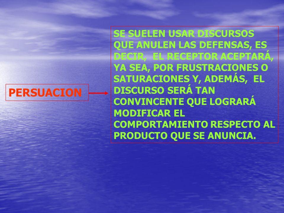 SE SUELEN USAR DISCURSOS QUE ANULEN LAS DEFENSAS, ES DECIR, EL RECEPTOR ACEPTARÁ, YA SEA, POR FRUSTRACIONES O SATURACIONES Y, ADEMÁS, EL DISCURSO SERÁ TAN CONVINCENTE QUE LOGRARÁ MODIFICAR EL COMPORTAMIENTO RESPECTO AL PRODUCTO QUE SE ANUNCIA.