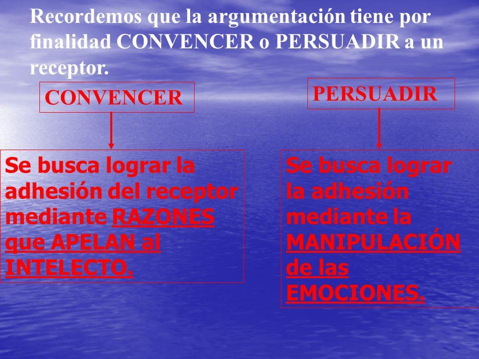 Recordemos que la argumentación tiene por finalidad CONVENCER o PERSUADIR a un receptor.