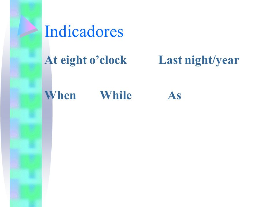 Indicadores At eight o'clock Last night/year When While As