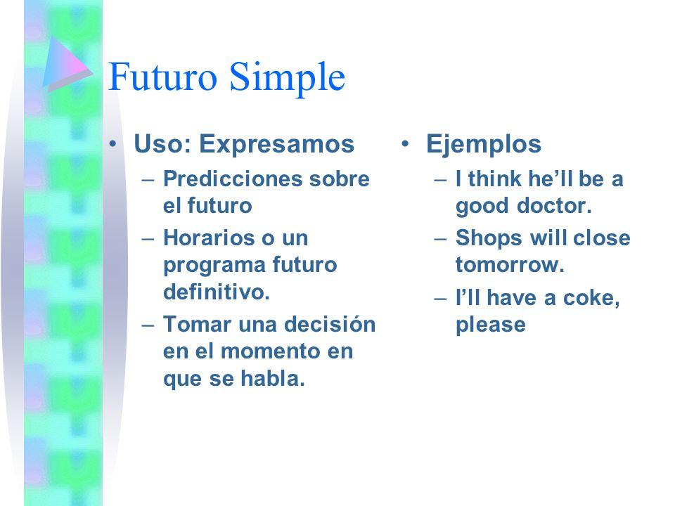 Futuro Simple Uso: Expresamos Ejemplos Predicciones sobre el futuro