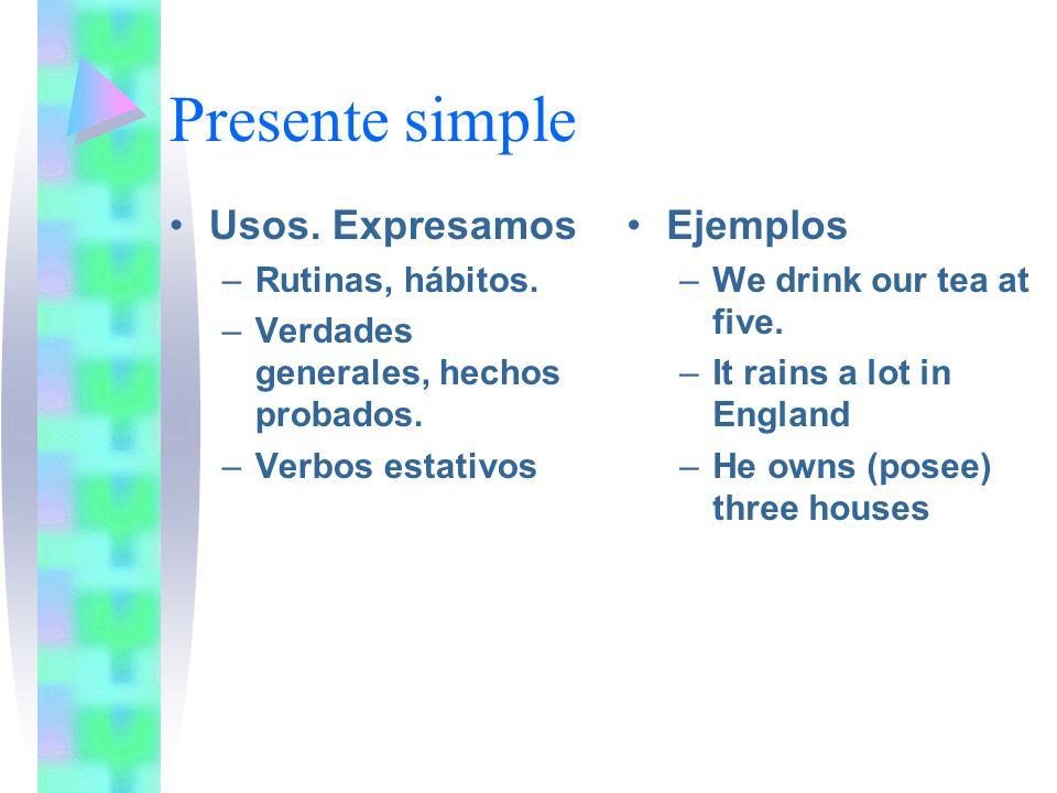 Presente simple Usos. Expresamos Ejemplos Rutinas, hábitos.