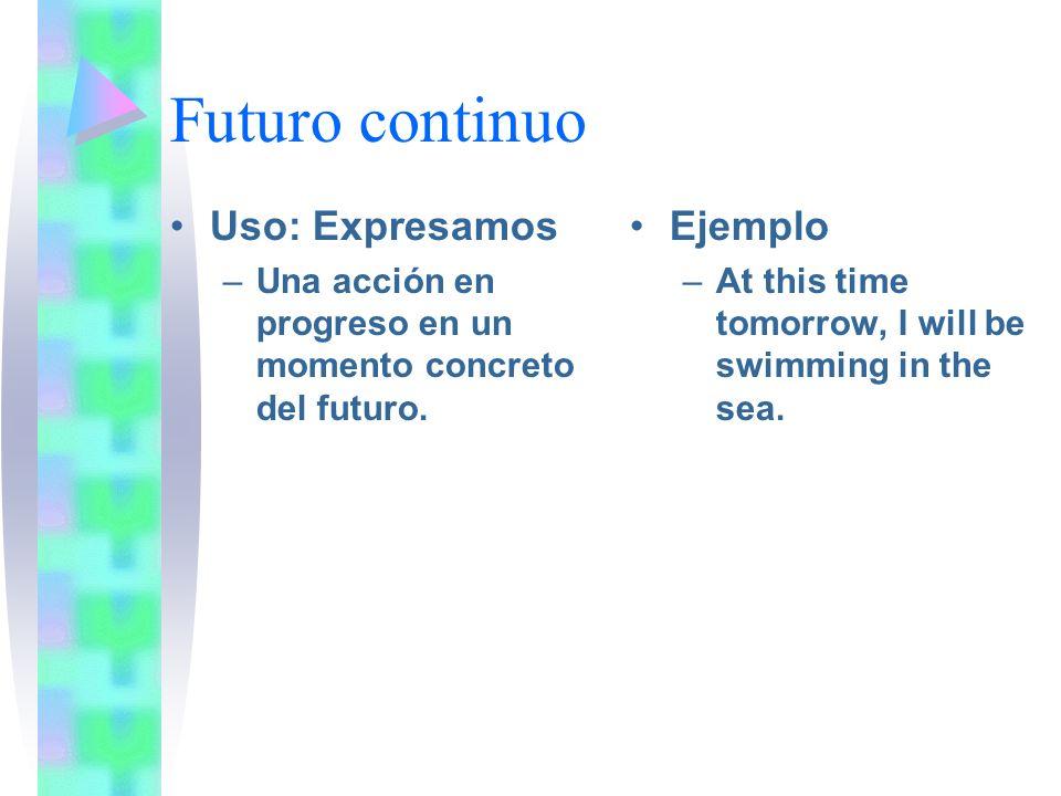 Futuro continuo Uso: Expresamos Ejemplo