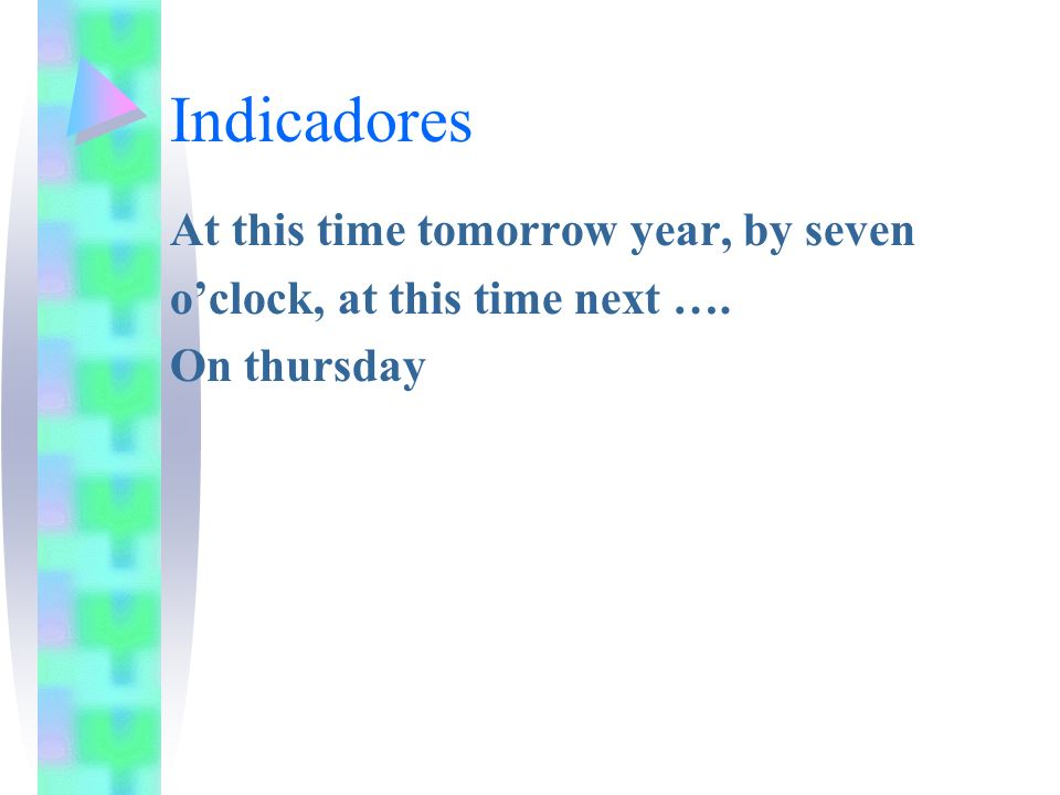 Indicadores At this time tomorrow year, by seven