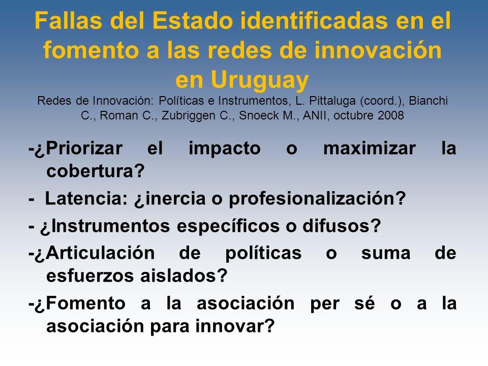 Fallas del Estado identificadas en el fomento a las redes de innovación en Uruguay Redes de Innovación: Políticas e Instrumentos, L. Pittaluga (coord.), Bianchi C., Roman C., Zubriggen C., Snoeck M., ANII, octubre 2008