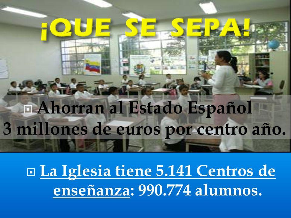 ¡QUE SE SEPA! Ahorran al Estado Español 3 millones de euros por centro año.