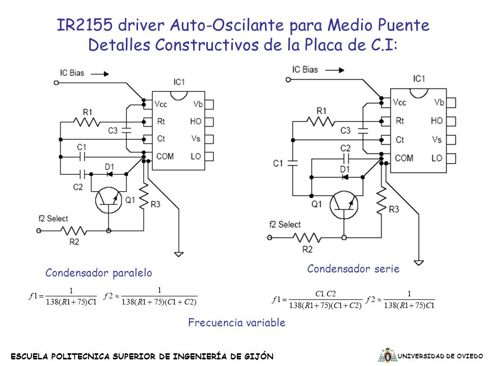 IR2155 driver Auto-Oscilante para Medio Puente