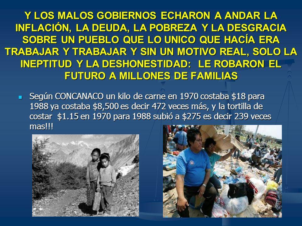 Y LOS MALOS GOBIERNOS ECHARON A ANDAR LA INFLACIÓN, LA DEUDA, LA POBREZA Y LA DESGRACIA SOBRE UN PUEBLO QUE LO UNICO QUE HACÍA ERA TRABAJAR Y TRABAJAR Y SIN UN MOTIVO REAL, SOLO LA INEPTITUD Y LA DESHONESTIDAD: LE ROBARON EL FUTURO A MILLONES DE FAMILIAS