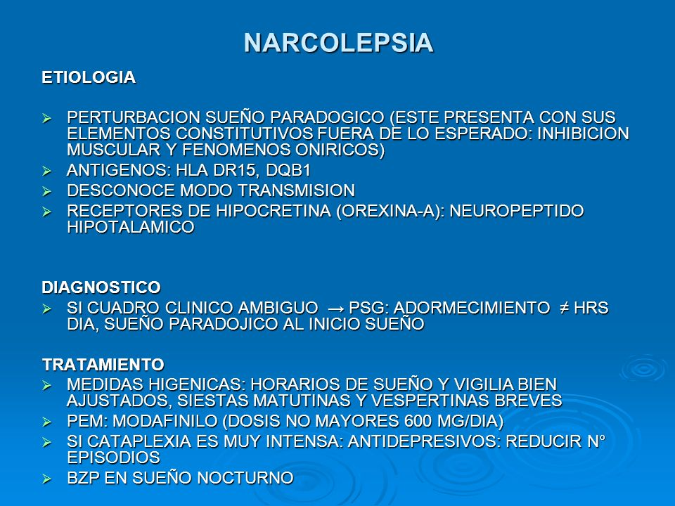 NARCOLEPSIA ETIOLOGIA