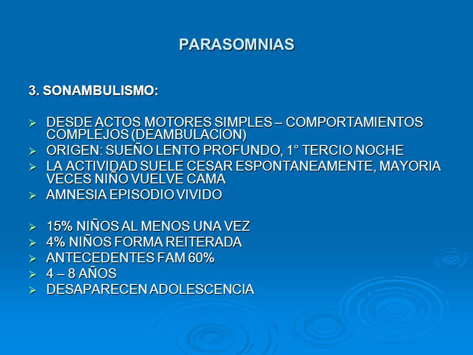 PARASOMNIAS 3. SONAMBULISMO: