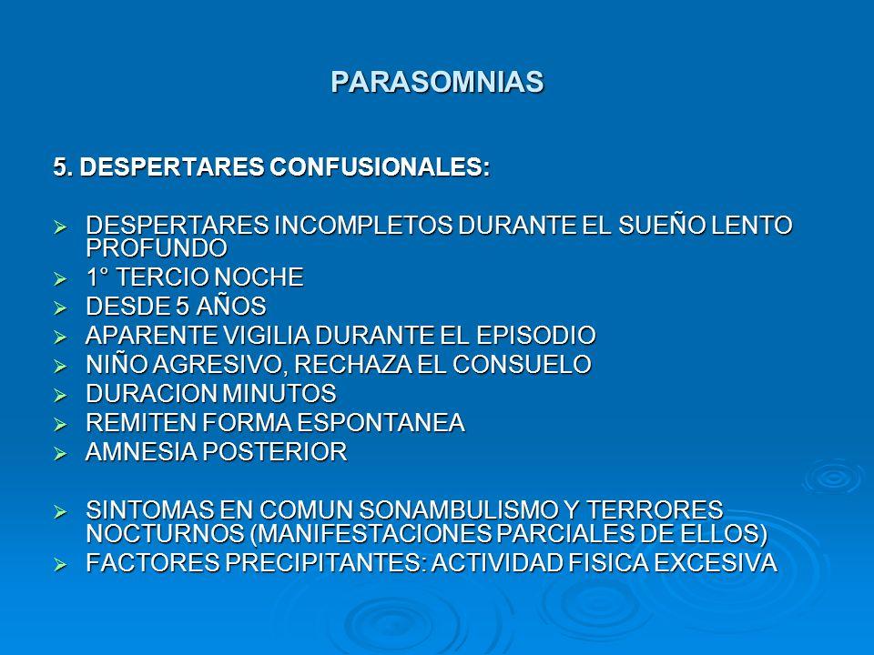PARASOMNIAS 5. DESPERTARES CONFUSIONALES: