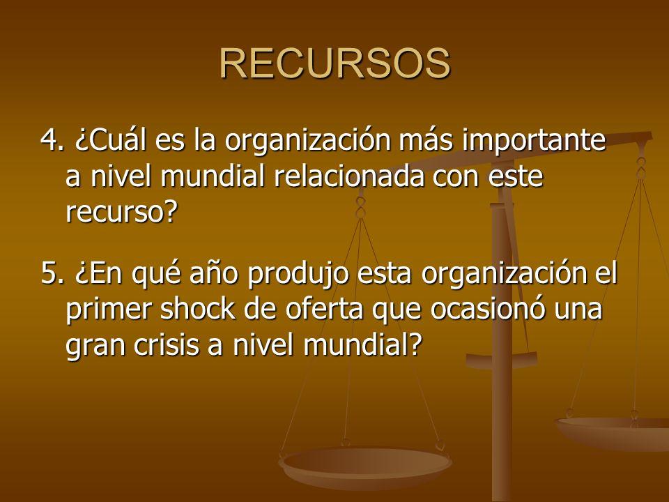 RECURSOS 4. ¿Cuál es la organización más importante a nivel mundial relacionada con este recurso