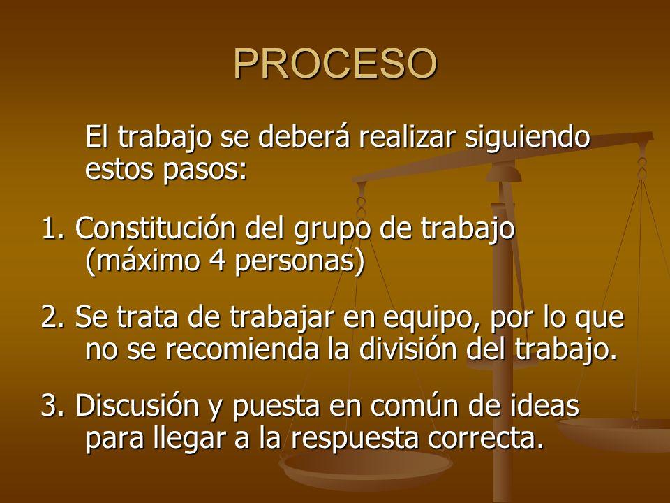 PROCESO El trabajo se deberá realizar siguiendo estos pasos: