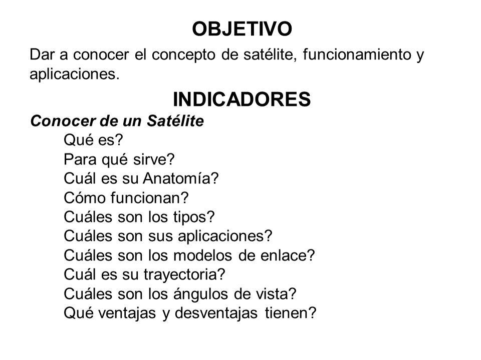 OBJETIVO Dar a conocer el concepto de satélite, funcionamiento y aplicaciones. INDICADORES. Conocer de un Satélite.