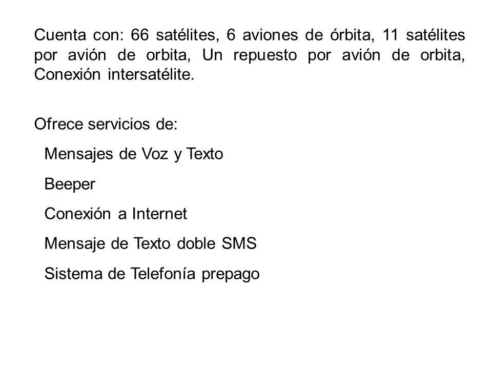 Cuenta con: 66 satélites, 6 aviones de órbita, 11 satélites por avión de orbita, Un repuesto por avión de orbita, Conexión intersatélite.