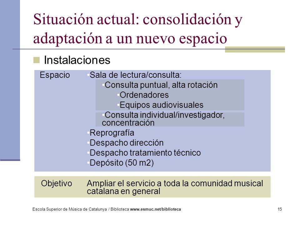 Situación actual: consolidación y adaptación a un nuevo espacio