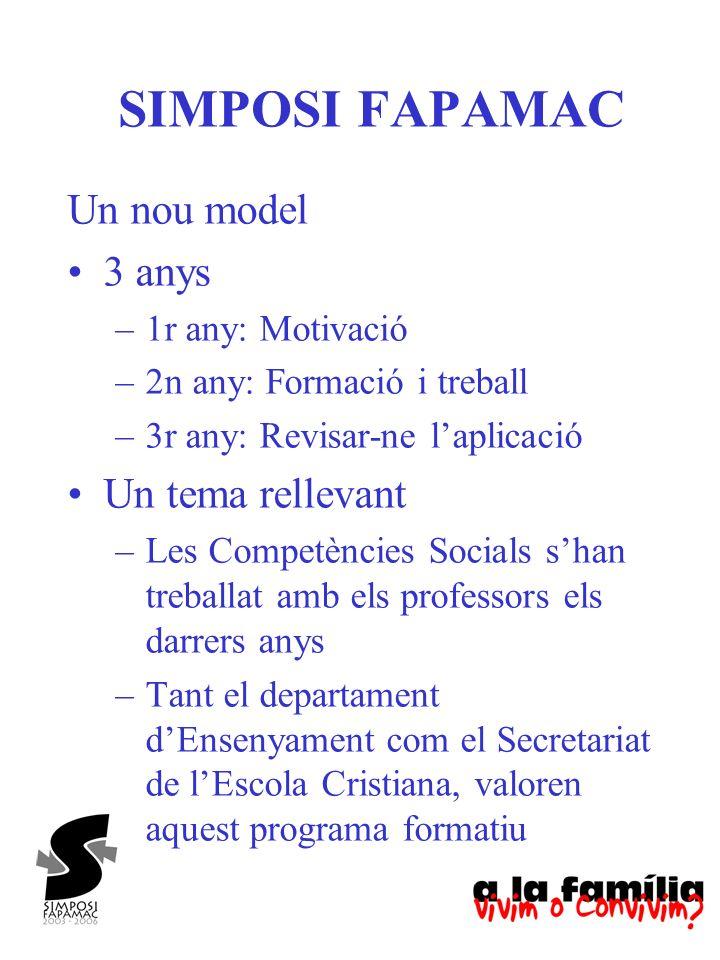 SIMPOSI FAPAMAC Un nou model 3 anys Un tema rellevant