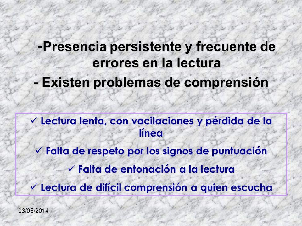 -Presencia persistente y frecuente de errores en la lectura
