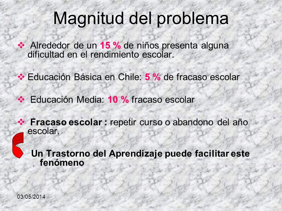 Magnitud del problema Alrededor de un 15 % de niños presenta alguna dificultad en el rendimiento escolar.