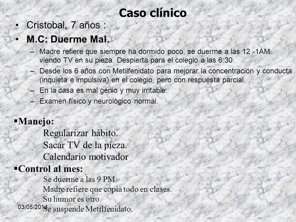 Caso clínico Cristobal, 7 años : M.C: Duerme Mal. Manejo: