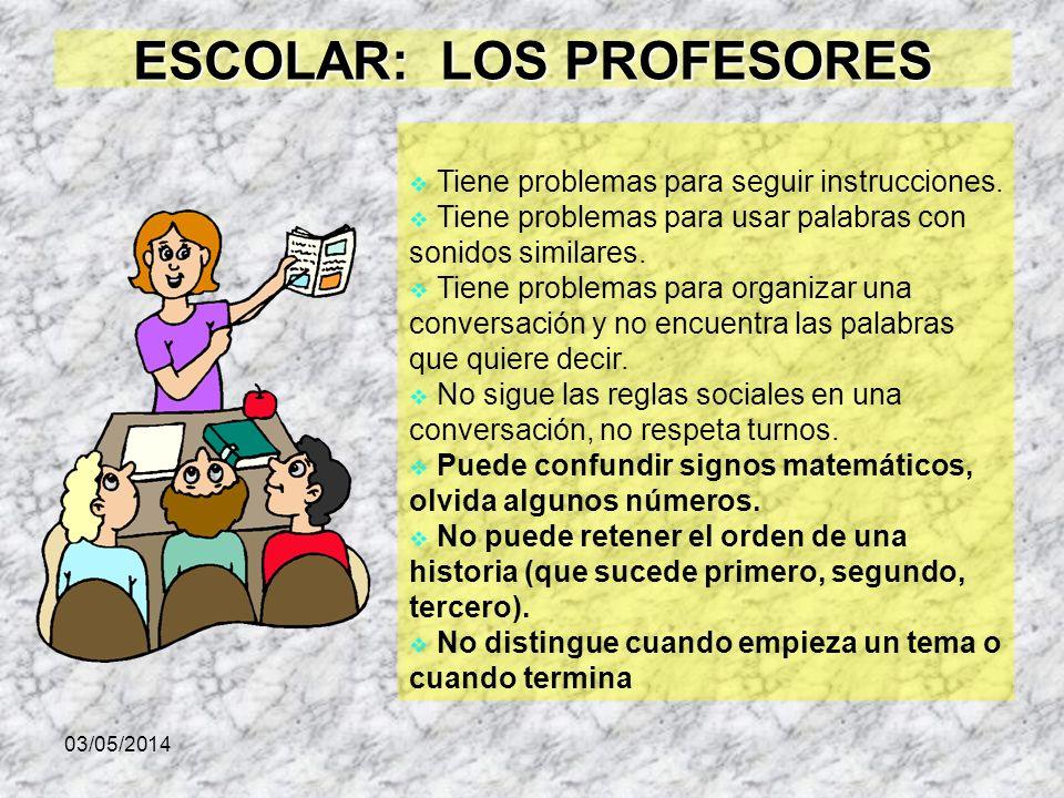 ESCOLAR: LOS PROFESORES