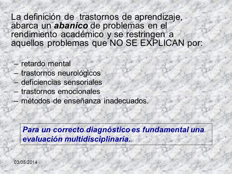 La definición de trastornos de aprendizaje, abarca un abanico de problemas en el rendimiento académico y se restringen a aquellos problemas que NO SE EXPLICAN por:
