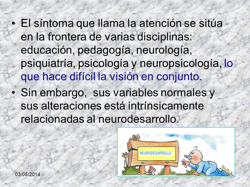 El síntoma que llama la atención se sitúa en la frontera de varias disciplinas: educación, pedagogía, neurología, psiquiatría, psicología y neuropsicología, lo que hace difícil la visión en conjunto.