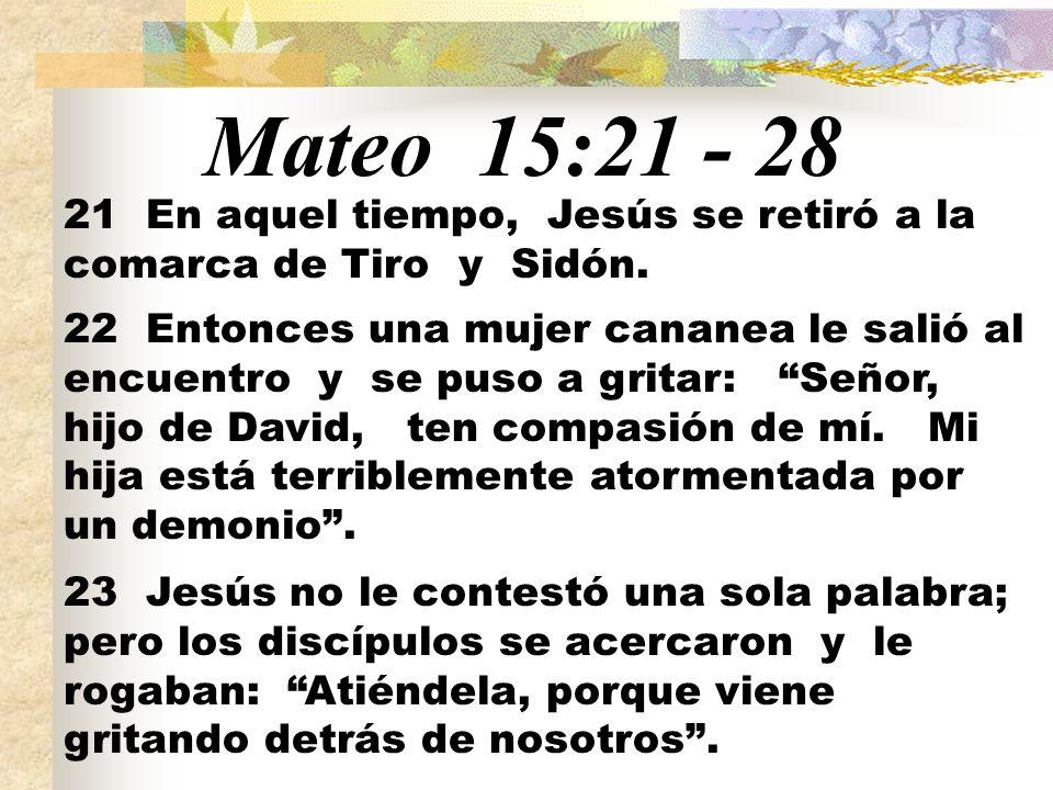 Mateo 15:21 - 28 21 En aquel tiempo, Jesús se retiró a la comarca de Tiro y Sidón.